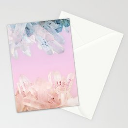 Serenity and Rose Quartz Crystals Stationery Cards
