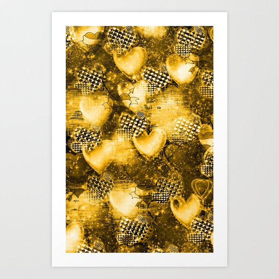 Light Bulb Hearts Series (Gold) Art Print