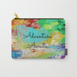 ADVENTURE AWAITS Wanderlust Typography Explore Summer Nature Rainbow Abstract Fine Art Painting Carry-All Pouch