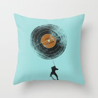 record Throw Pillows featuring Record Breaker by nicebleed