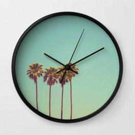 Three California Palm Trees Against Green Teal Background Vintage American Art Bohemian Retro Wall Clock