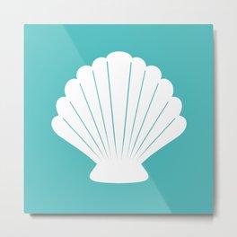 Seashell (White & Teal) Metal Print