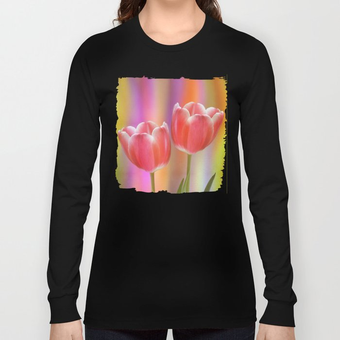 Colourful tête à tête tulips with canvas texture Long Sleeve T-shirt