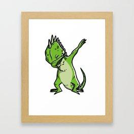 Funny Dabbing Iguana Reptile Dab Dance Framed Art Print