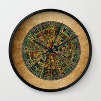 calendar Wall Clocks featuring Ancient Calendar by Klara Acel