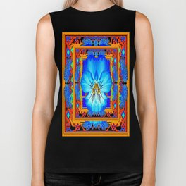 Orange Southwest Blue pansy Patterned Art Design Biker Tank
