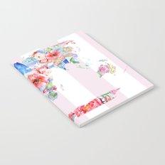 Floral World - Pink Stripe Notebook