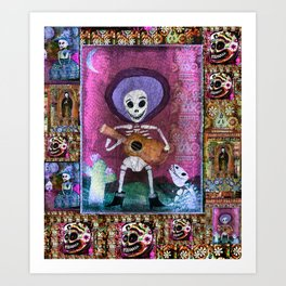 Day of the Dead Guitar playing skeleton ART  Art Print