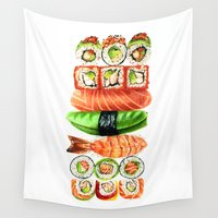 sushi Wall Tapestries featuring Sushi by Sam Luotonen
