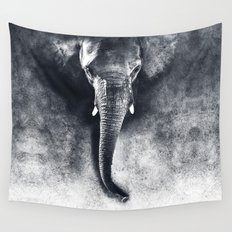 elephant black and white Wall Tapestry