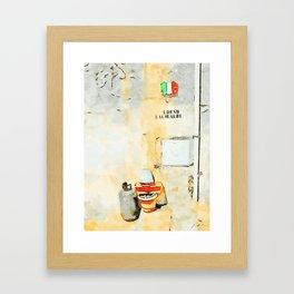 Gas bottle, jar and italian flag in street of Tortora Framed Art Print