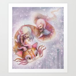 Cute Magic Dragon Cat Flying with Baby Girls Art Print