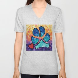 Puppy Love - Colorful Dog Paw Art By Sharon Cummings Unisex V-Neck