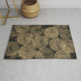 Radial Block Print in Charcoal and Gold Rug