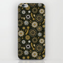 christmas pattern with stars and mandala on black and gold iPhone Skin