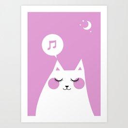 Sound Asleep Cat Art Print