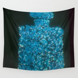 CC Rose Perfume Bottle Blue Wall Tapestry