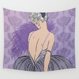 Art Deco Lady with Damask - BIANCA: Mauve and More Wall Tapestry