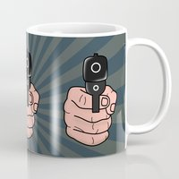 comics Mugs featuring comics gun  by mark ashkenazi