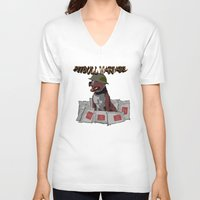 pitbull V-neck T-shirts featuring Pitbull Warfare by dr.Mador