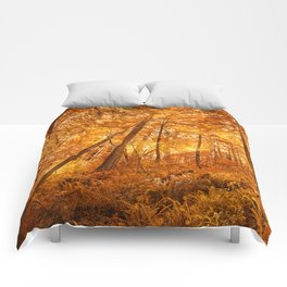 Glowing Amber Forest Comforters