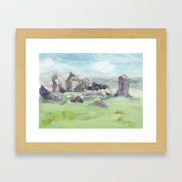 Loughcrew cairns stone circle watercolor painting of Ireland Framed Art Print