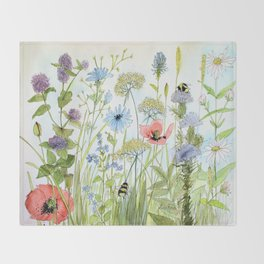 Floral Watercolor Botanical Cottage Garden Flowers Bees Nature Art Throw Blanket