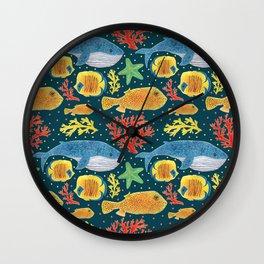 Sea Life Print Wall Clock