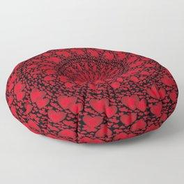 LOVE HEARTS MANDALA red black circles geometric metaphysical symbol Angelis Floor Pillow
