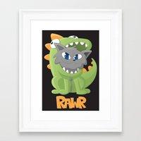 onesie Framed Art Prints featuring Cat Dino Onesie by Bookyo