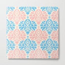 Pastel blue pink vintage floral damask pattern Metal Print