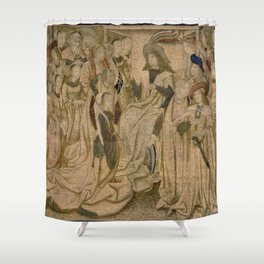 Brussels Manufactory - Tapestry with Esther presented to Ahasuerus (1490 - 1510) Shower Curtain