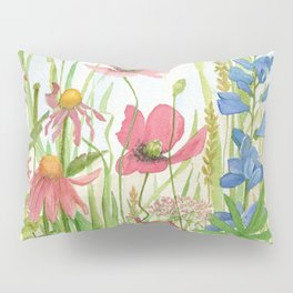Watercolor Garden Flower Poppies Lupine Coneflower Wildflower Pillow Sham