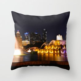 Chicago skyline and Buckingham Fountain at night. Throw Pillow