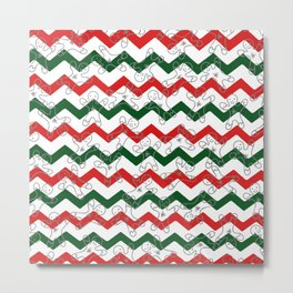 Sweet Forest Green  Red Chevron Silver Christmas Ginger Bread Man Metal Print
