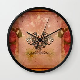 Decorative dragon with floral elements Wall Clock