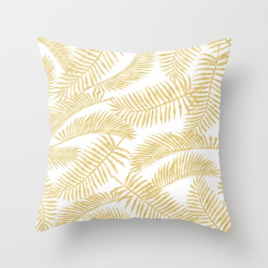 palm leaf pattern gold throw pillow
