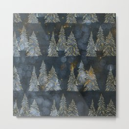 Fairy Pine Trees Golden Winter Christmas Lights Gold And Indigo Blue Landscape Decor Metal Print