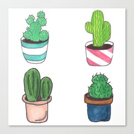 1 Cactus, 2 Cacti, 3 Cacti Four- Watercolor Design Canvas Print