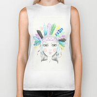 headdress Biker Tanks featuring Indian Headdress Girl by Lisa Bulpin
