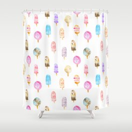 Dolce vita || watercolor ice cream summer pattern Shower Curtain