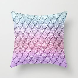 Mermaid Scales on Unicorn Girls Glitter #4 #shiny #pastel #decor #art #society6 Throw Pillow