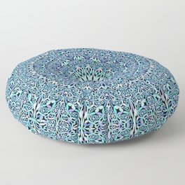Light Blue Floral Life Mandala Floor Pillow