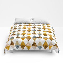 GRAPHIC PATTERN Funky triangles | golden Comforters