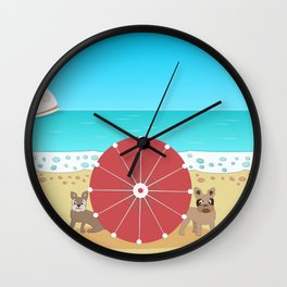 Holiday Romance - Behind the Red Umbrella Wall Clock