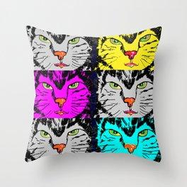 cat faces,visages de chat Throw Pillow