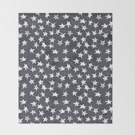 Linocut Stars - Navy & White Throw Blanket
