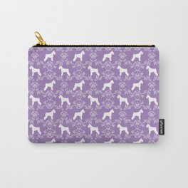 Schnauzer floral silhouette pattern schnauzers minimal lilac purple dog Carry-All Pouch