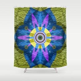 Moss Green & Indigo GOlden Eye Meditation Boho Floral Mandala Shower Curtain