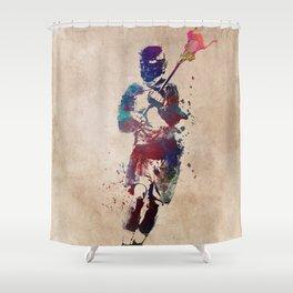 Lacrosse player art 2 Shower Curtain